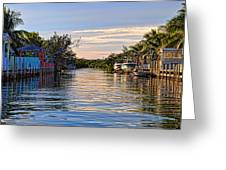 Key Largo Canal Greeting Card