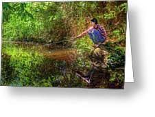 Khmer Woman Fishing - Cambodia Greeting Card