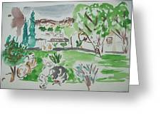 Kibbutz Summer View.water Color 1992 Greeting Card