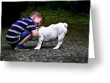 Kid And His Dog Greeting Card
