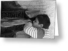 Kid Drinking From The Fountain Greeting Card