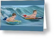 Kids Bodyboarding Greeting Card