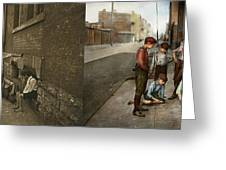 Kids - Cincinnati Oh - A Shady Game 1908 - Side By Side Greeting Card