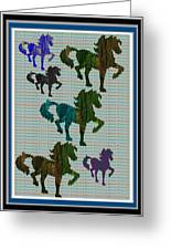 Kids Fun Gallery Horse Prancing Art Made Of Jungle Green Wild Colors Greeting Card