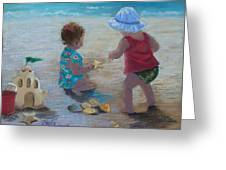 Kids Having A Shell Time In  Holmes Beach Greeting Card