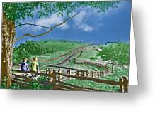 Kids On A Fence Greeting Card