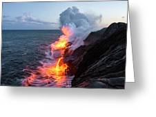 Kilauea Volcano Lava Flow Sea Entry 3- The Big Island Hawaii Greeting Card