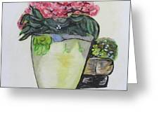 Kimberly's Castellabate Flower Pot Greeting Card by Clyde J Kell