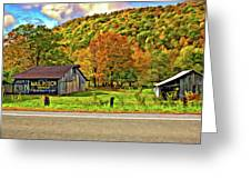Kindred Barns Painted Greeting Card by Steve Harrington