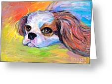 King Charles Cavalier Spaniel Dog Painting Greeting Card