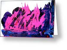 King Kong Attacks Phantom Pink Sail Boat Greeting Card
