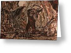 King Kong - Kong Battles A Serpentine Dinosaur Greeting Card
