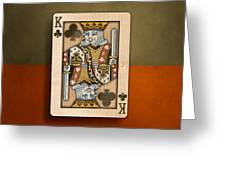 King Of Clubs In Wood Greeting Card