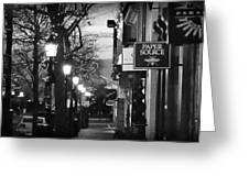 King Street At Night - Old Town Alexandria Greeting Card