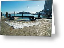 King Tide On The Boston Waterfront Boston Ma Greeting Card