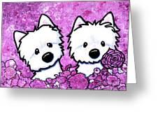 Kiniart Westies In Flowers Greeting Card
