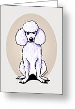Kiniart White Poodle Greeting Card