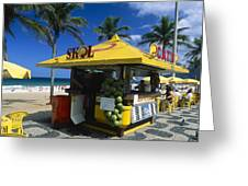 Kiosk On Ipanema Beach Greeting Card by George Oze
