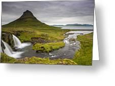 Kirkjufellsfoss On Snaefellsnes Peninsula Iceland Greeting Card