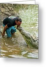 Kissing A Crocodile Greeting Card