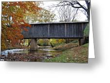 Kissing Bridge At Fall Greeting Card