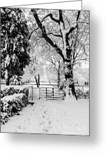 Kissing Gate In The Snow Greeting Card