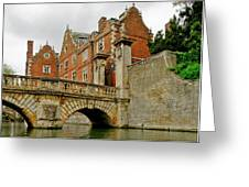 Kitchen Or Wren Bridge And St. Johns College From The Backs. Cambridge. Greeting Card
