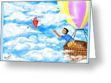 Kite And Hot-air Balloon Greeting Card