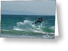 Kite Surfer Jumping Over A Wave Greeting Card by Sami Sarkis