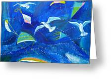 Kites And Seagulls Over Pacific Greeting Card