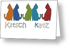 Kitsch Cats Silhouette Cat Collage Pattern Isolated Greeting Card
