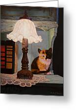 Kitten By The Lamp Greeting Card