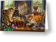 Kittens With Jewelry Box Greeting Card by Anne Wertheim