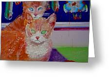 Kittens With Wild Wallpaper Greeting Card