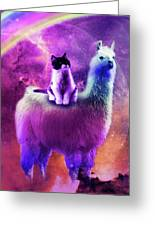 Kitty Cat Riding On Rainbow Llama In Space Greeting Card