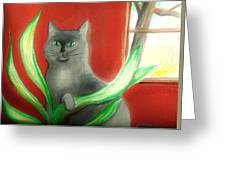 Kitty In The Plants Greeting Card