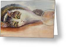 Kitty With Spilled Milk Greeting Card