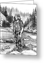 Klamath Indian Woman Greeting Card by Cheryl Poland