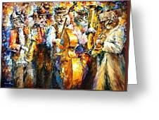 Klezmer Cats - Palette Knife Oil Painting On Canvas By Leonid Afremov Greeting Card