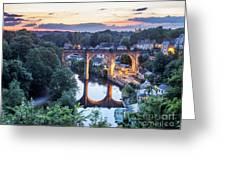 Knaresborough Viaduct Floodlit At Dusk Greeting Card