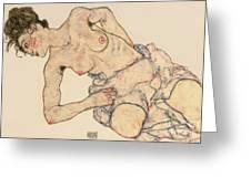 Kneider Weiblicher Halbakt Greeting Card by Egon Schiele