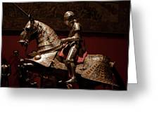 Knight And Horse In Armor Greeting Card