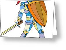 Knight Full Armor With Sword Defending Mosaic Greeting Card