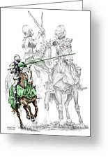 Knight Time - Renaissance Medieval Print Color Tinted Greeting Card