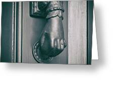 Knocking Hand Greeting Card by Michael Colgate