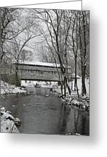 Knox Valley Forge Covered Bridge In Winter Greeting Card