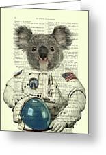 Koala In Space Illustration Greeting Card