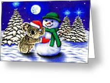 Koala With Snowman Greeting Card