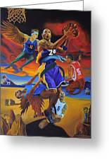 Kobe Defeating The Demons Greeting Card by Luis Antonio Vargas