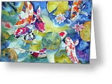 Koi And Two Waterlilies Flowers Greeting Card